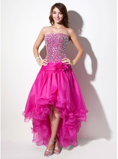 A-Line/Princess Strapless Asymmetrical Organza Prom Dress With Beading