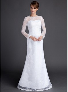 A-Line/Princess Scoop Neck Floor-Length Satin Tulle Wedding Dress With Lace