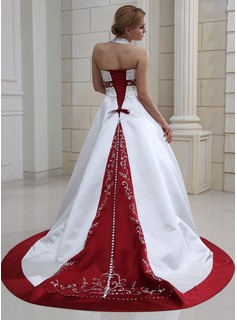 Ball-Gown Halter Court Train Satin Wedding Dress With Embroidery Beadwork Sequins