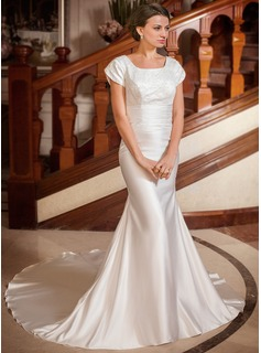 Trumpet/Mermaid Square Neckline Chapel Train Satin Wedding Dress With Ruffle Lace Beading