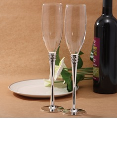 Crystal Steamed Silver Plated Lead-free Glass Toasting Flutes (Set Of 2)