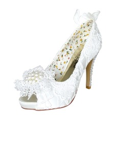 Women's Satin Stiletto Heel Peep Toe Platform Pumps With Imitation Pearl Rhinestone Flower
