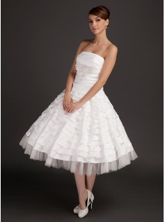 A-Line/Princess Strapless Tea-Length Satin Tulle Wedding Dress With Ruffle Lace Beading
