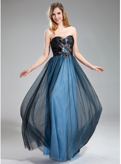 A-Line/Princess Sweetheart Floor-Length Taffeta Tulle Prom Dress With Ruffle Beading Feather Flower(s)