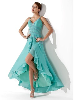 A-Line/Princess Sweetheart Asymmetrical Chiffon Prom Dress With Ruffle Beading Appliques Sequins