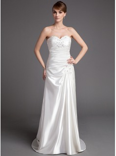 A-Line/Princess Sweetheart Court Train Charmeuse Wedding Dress With Ruffle Beadwork