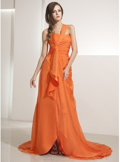 A-Line/Princess One-Shoulder Asymmetrical Chiffon Evening Dress With Ruffle Beading Sequins