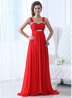 Empire Sweetheart Sweep Train Chiffon Evening Dress With Ruffle Beading (017017358)