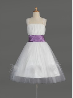 A-Line/Princess Square Neckline Knee-Length Satin Tulle Charmeuse Flower Girl Dress With Ruffle Sash Feather