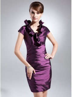 Sheath V-neck Knee-Length Taffeta Cocktail Dress With Ruffle (016008268)