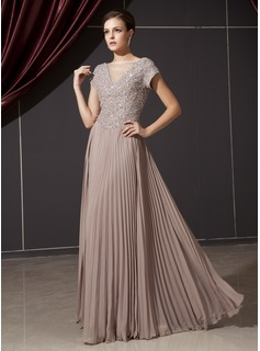 A-Line/Princess V-neck Floor-Length Chiffon Tulle Mother of the Bride Dress With Beading Appliques Sequins Pleated