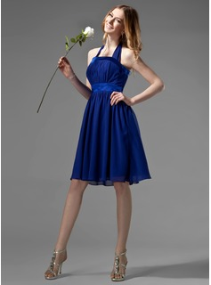 Empire Halter Knee-Length Chiffon Charmeuse Bridesmaid Dress With Ruffle Bow