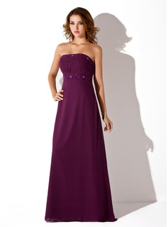 Empire Strapless Floor-Length Chiffon Bridesmaid Dress With Ruffle Beading (007001776)