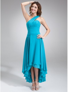 A-Line/Princess One-Shoulder Asymmetrical Chiffon Homecoming Dress With Ruffle