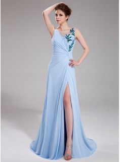 A-Line/Princess V-neck Sweep Train Chiffon Tulle Evening Dress With Ruffle Beading Sequins