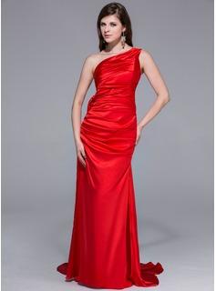 Sheath One-Shoulder Watteau Train Tulle Charmeuse Prom Dress With Beading Flower(s) Sequins