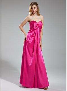 Empire Sweetheart Floor-Length Charmeuse Bridesmaid Dress With Ruffle