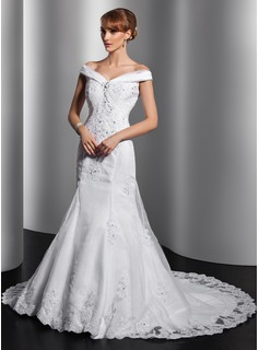 Trumpet/Mermaid Off-the-Shoulder Chapel Train Organza Satin Wedding Dress With Ruffle Lace Sequins
