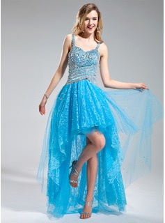 A-Line/Princess Sweetheart Asymmetrical Tulle Lace Prom Dress With Beading Sequins