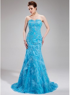 Mermaid Sweetheart Sweep Train Charmeuse Lace Evening Dress With Beading Feather Sequins