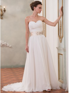A-Line/Princess Sweetheart Chapel Train Chiffon Charmeuse Wedding Dress With Ruffle Sash Beading Sequins