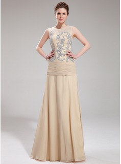 A-Line/Princess Scoop Neck Floor-Length Chiffon Tulle Evening Dress With Lace (017019753)