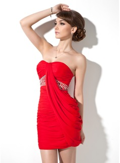 Sheath Sweetheart Short/Mini Chiffon Cocktail Dress With Ruffle Beading (016021286)
