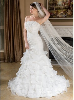 Mermaid Scalloped Neck Court Train Organza Wedding Dress With Ruffle Flower(s)