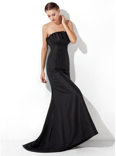 Mermaid Scalloped Neck Sweep Train Taffeta Evening Dress With Ruffle
