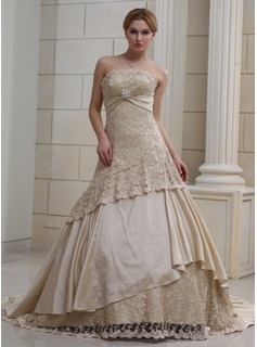 Ball-Gown Strapless Chapel Train Satin Lace Wedding Dress With Ruffle Crystal Brooch Sequins (002011382)