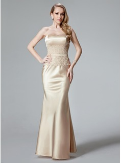 Trumpet/Mermaid Sweetheart Floor-Length Charmeuse Evening Dress With Lace