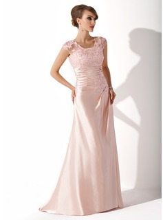 Sheath Scoop Neck Sweep Train Charmeuse Lace Mother of the Bride Dress With Ruffle (008005616)