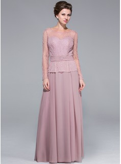 A-Line/Princess Scoop Neck Floor-Length Chiffon Tulle Mother of the Bride Dress With Beading Sequins