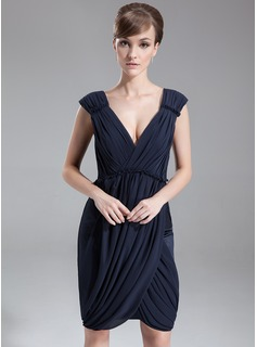 Sheath V-neck Knee-Length Chiffon Cocktail Dress With Ruffle