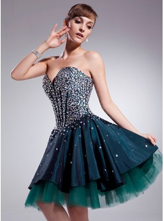 A-Line/Princess Sweetheart Knee-Length Taffeta Tulle Homecoming Dress With Beading (022020933)