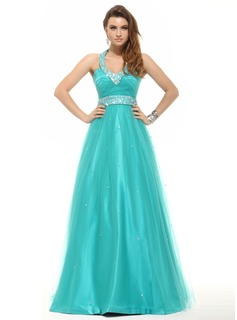 A-Line/Princess Halter Floor-Length Tulle Prom Dress With Beading
