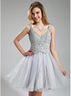 A-Line/Princess V-neck Short/Mini Tulle Charmeuse Holiday Dress With Beading Sequins