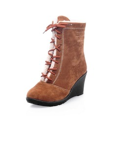 Suede Wedge Heel Ankle Boots With Lace-up shoes
