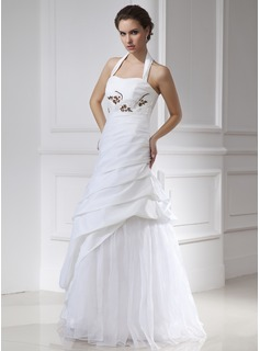 A-Line/Princess Halter Floor-Length Taffeta Tulle Wedding Dress With Beadwork