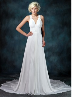 A-Line/Princess V-neck Chapel Train Chiffon Wedding Dress With Ruffle Beading Appliques