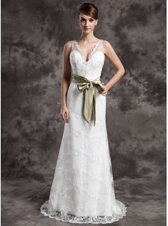 Sheath/Column V-neck Sweep Train Satin Lace Wedding Dress With Sashes Beadwork