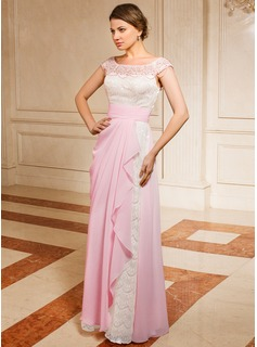 A-Line/Princess Off-the-Shoulder Floor-Length Chiffon Lace Mother of the Bride Dress With Ruffle Beading (008024459)