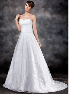 A-Line/Princess Sweetheart Court Train Organza Satin Lace Wedding Dress With Flower(s) Sequins