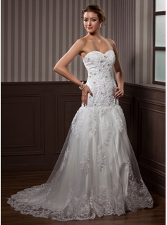 Trumpet/Mermaid Sweetheart Court Train Satin Tulle Wedding Dress With Lace Beading