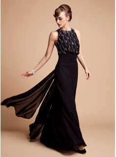 Trumpet/Mermaid Scoop Neck Floor-Length Chiffon Mother of the Bride Dress With Beading (008006445)