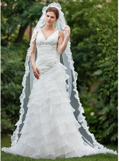A-Line/Princess V-neck Chapel Train Organza Wedding Dress With Beading Appliques Lace Cascading Ruffles