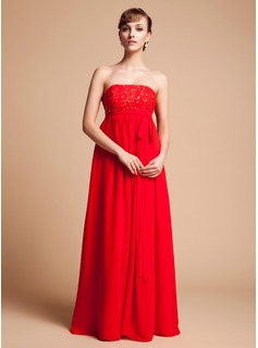 Empire Strapless Floor-Length Chiffon Lace Chiffon Lace Maternity Bridesmaid Dress With Beading Sequins Bow(s)