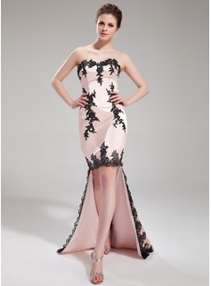 Mermaid Sweetheart Asymmetrical Charmeuse Cocktail Dress With Lace (016019713)