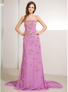 Sheath Strapless Watteau Train Chiffon Prom Dress With Ruffle Beading Sequins