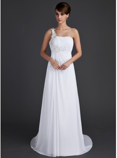 A-Line/Princess One-Shoulder Court Train Chiffon Holiday Dress With Ruffle Appliques (020015604)